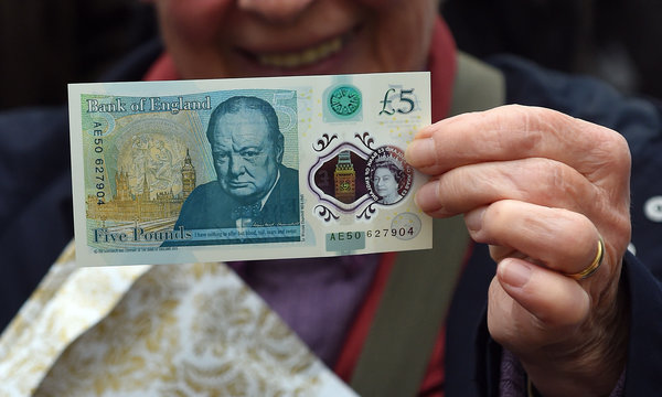 The new polymer £5 note featuring Sir Winston Churchill, is unveiled at Blenheim Palace in Oxfordshire.